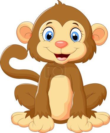Illustration for Vector illustration of Cartoon cute monkey sitting - Royalty Free Image