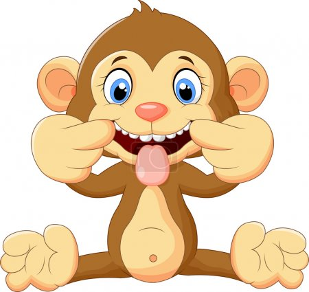 Illustration for Vector illustration of Cartoon monkey making a teasing face - Royalty Free Image