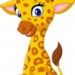 Vector illustration of Cartoon baby giraffe sittin...