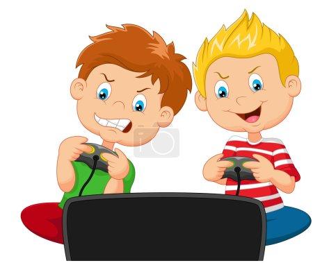 Illustration pour Illustration vectorielle du jeu vidéo Little boys cartoon - image libre de droit