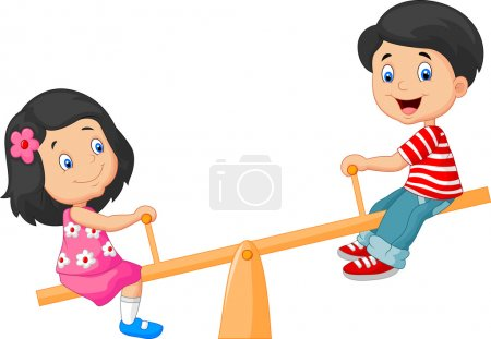 Illustration for Vector illustration of Cartoon Kids see saw - Royalty Free Image