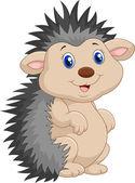 Vector illustration of Adorable hedgehog cartoon was standing