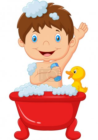 Illustration for Vector illustration of Cartoon child taking a bath - Royalty Free Image