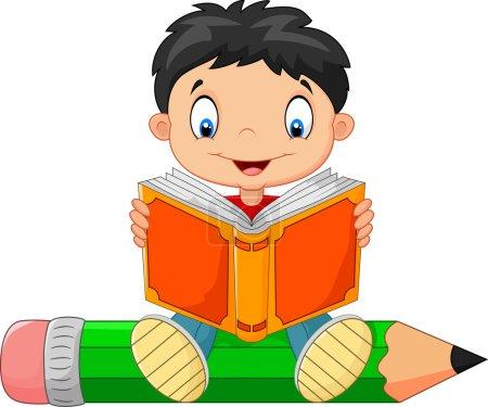 Cartoon little boy reading a book