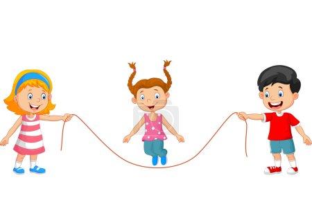 Cartoon Playing jump rope