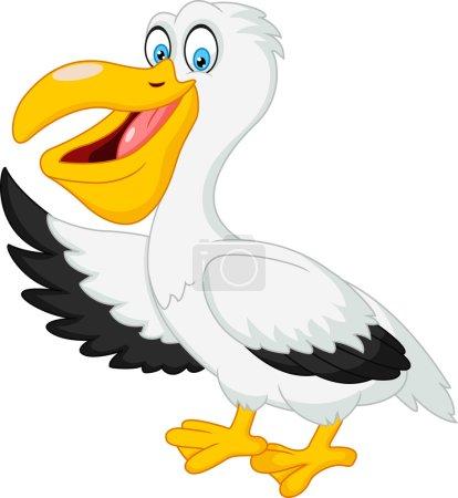 Cute pelican cartoon waving hand