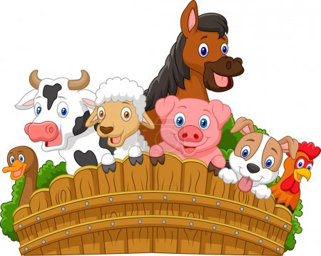 Illustration for Vector illustration of Cartoon Collection farm animals - Royalty Free Image