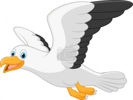 Illustration for Vector illustration of Cartoon smiling seagull - Royalty Free Image