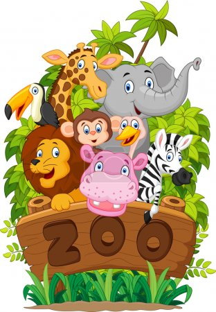 Illustration for Vector illustration of Cartoon collection zoo animals - Royalty Free Image