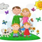 Happy family cartoon against a beautiful landscape
