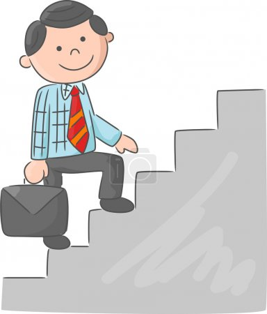 Illustration for Vector illustration of Cartoon man climbing stairs - Royalty Free Image