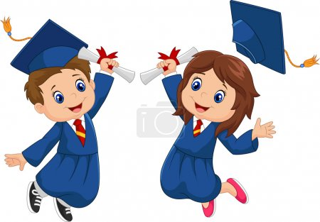 Illustration for Vector illustration of Cartoon Graduation Celebration - Royalty Free Image