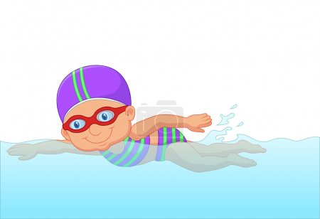 Cartoon little girl swimmer in the swimming pool