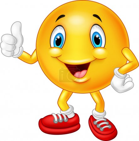 Illustration for Vector illustration of Cartoon emoticon giving thumb up - Royalty Free Image