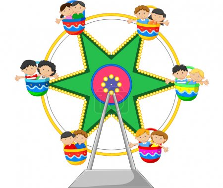 Cartoon Ferris Wheel Over