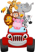 Cartoon little animal happy with red car