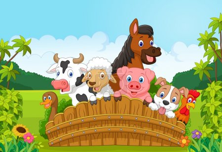 Illustration for Vector illustration of Cartoon Collection farm animals in the forest - Royalty Free Image