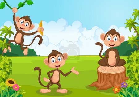 Cartoon monkey playing in the forest