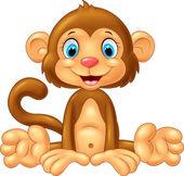 Kreslená roztomilý opice sedící