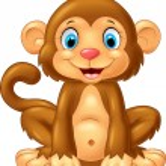 Vector illustration of Cartoon cute monkey sitting...