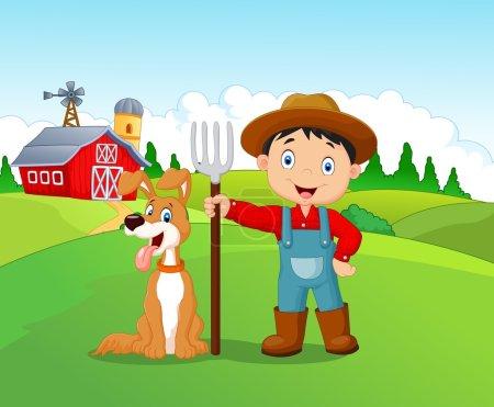 Illustration pour Illustration vectorielle de Dessin animé petit garçon et chien à la ferme - image libre de droit