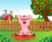 Cartoon cute baby pig in the garden