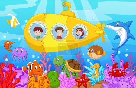 Happy kids cartoon in submarine on the sea