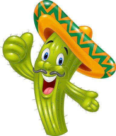 Happy cactus cartoon giving thumb up