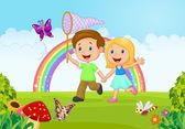Cartoon kids catching butterfly in the jungle