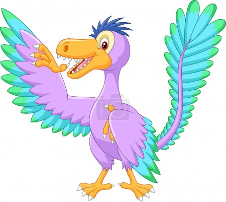 Cartoon archaeopteryx waving