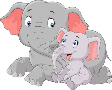 Illustration for Vector, africa, animal, baby, cartoon, character, child, comic, elephant, flower, fun, funny, happy, illustration, ivory, jungle, landscape, laughing, mammal, mascot, mother, nature, nice, parent, parenting, play, posing, safari, smile, standing - Royalty Free Image