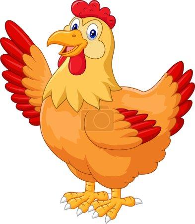 Chicken hen waving hand