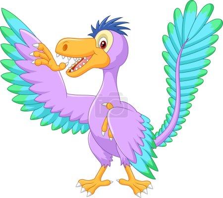 Cartoon prehistoric bird archaeopteryx