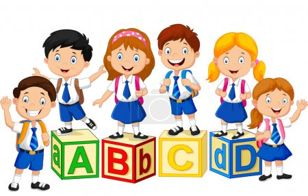 Happy school kids with alphabet block