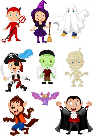 Illustration for Halloween, cartoon, costume, mummy, vampire, werewolf, frankenstein, pirate, devil, witch, ghost, broom, smile, happy, fun, funny, mascot, holiday, tick, treat, adorable, animal, bat, boy, child, childhood, clothes, clothing, collection, girl, hallow - Royalty Free Image
