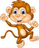 Cartoon monkey waving and dancing