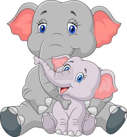 Illustration pour Illustration vectorielle de mère de bande dessinée et bébé éléphant assis isolé sur fond blanc - image libre de droit