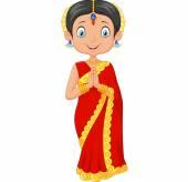 Kreslený indická dívka nosí tradiční kroje
