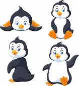 Sbírka kreslených tučňák izolovaných na bílém pozadí