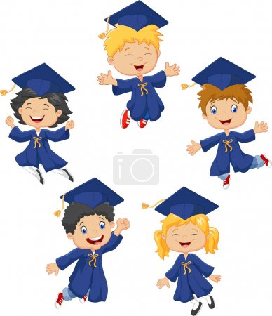 Illustration for Vector illustration of Cartoon little kids celebrate their graduation isolated on white background - Royalty Free Image