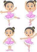 Vector illustration of Cartoon little ballet dancer collection set