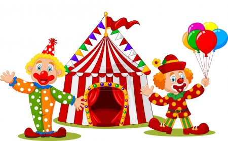 Illustration for Vector illustration of Cartoon happy clown in front of circus tent - Royalty Free Image