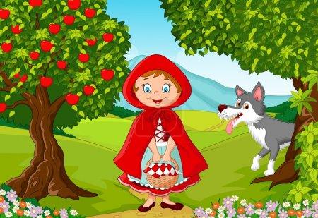 Illustration pour Illustration vectorielle de la rencontre du Petit Chaperon Rouge avec un loup - image libre de droit