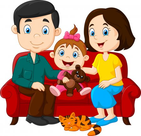 Happy family sitting on the red sofa