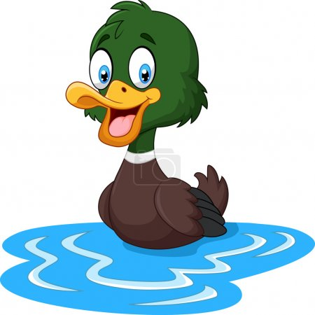 Cartoon ducks floats on water