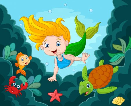 Little Mermaid with sea animals