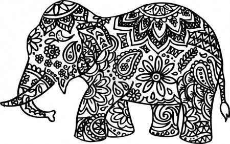 Black and white hand drawn doodle elephant