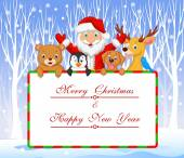 Vector illustration of Cartoon Santa and friend holding Christmas greeting with winter background