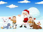 Santa Claus holding blank sign with friends