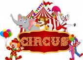 Cartoon animal circus and clown with carnival background